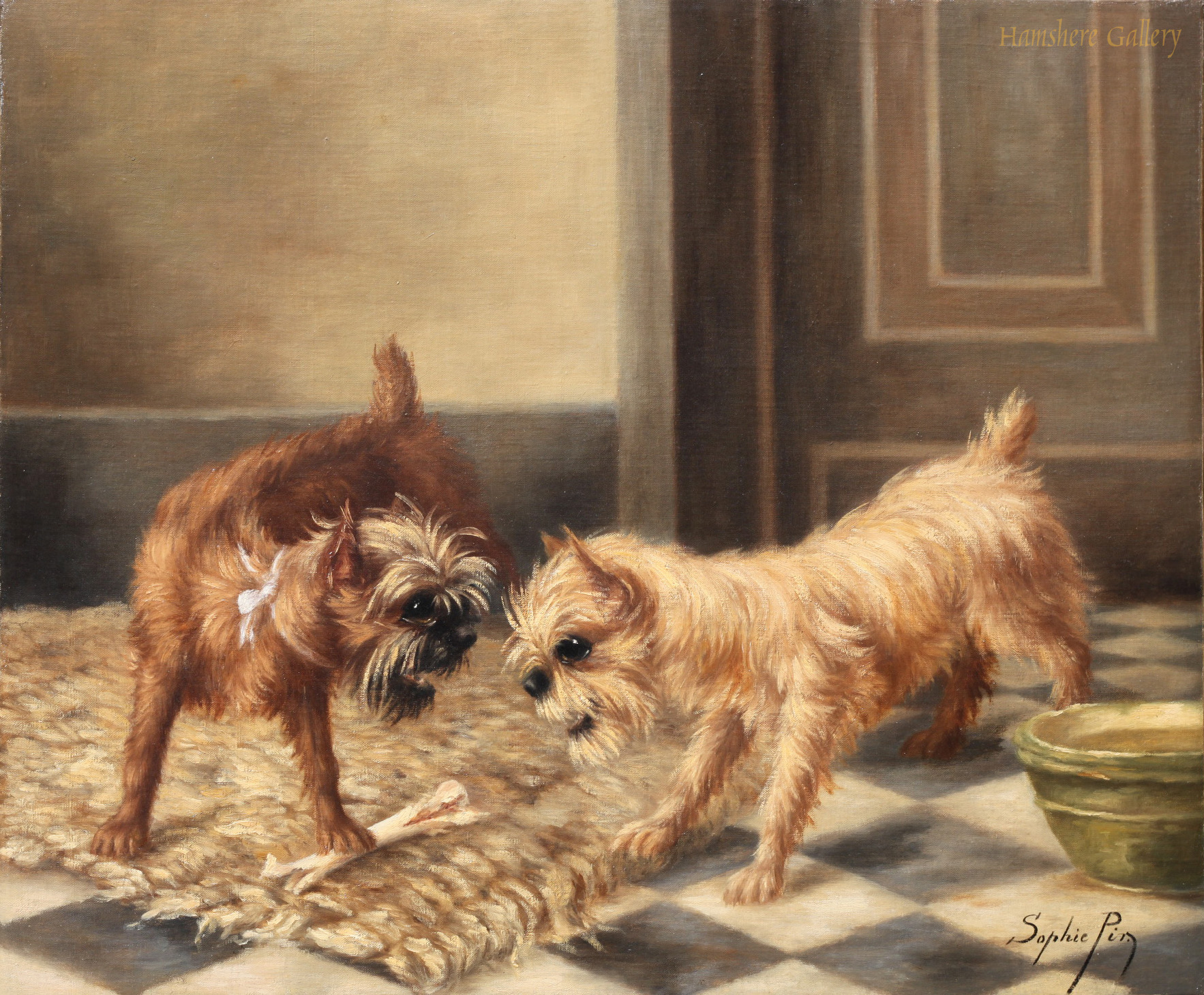 Click to see full size: Oil on canvas of a French Bulldog watching kittens play by Mme Sophie von Pir