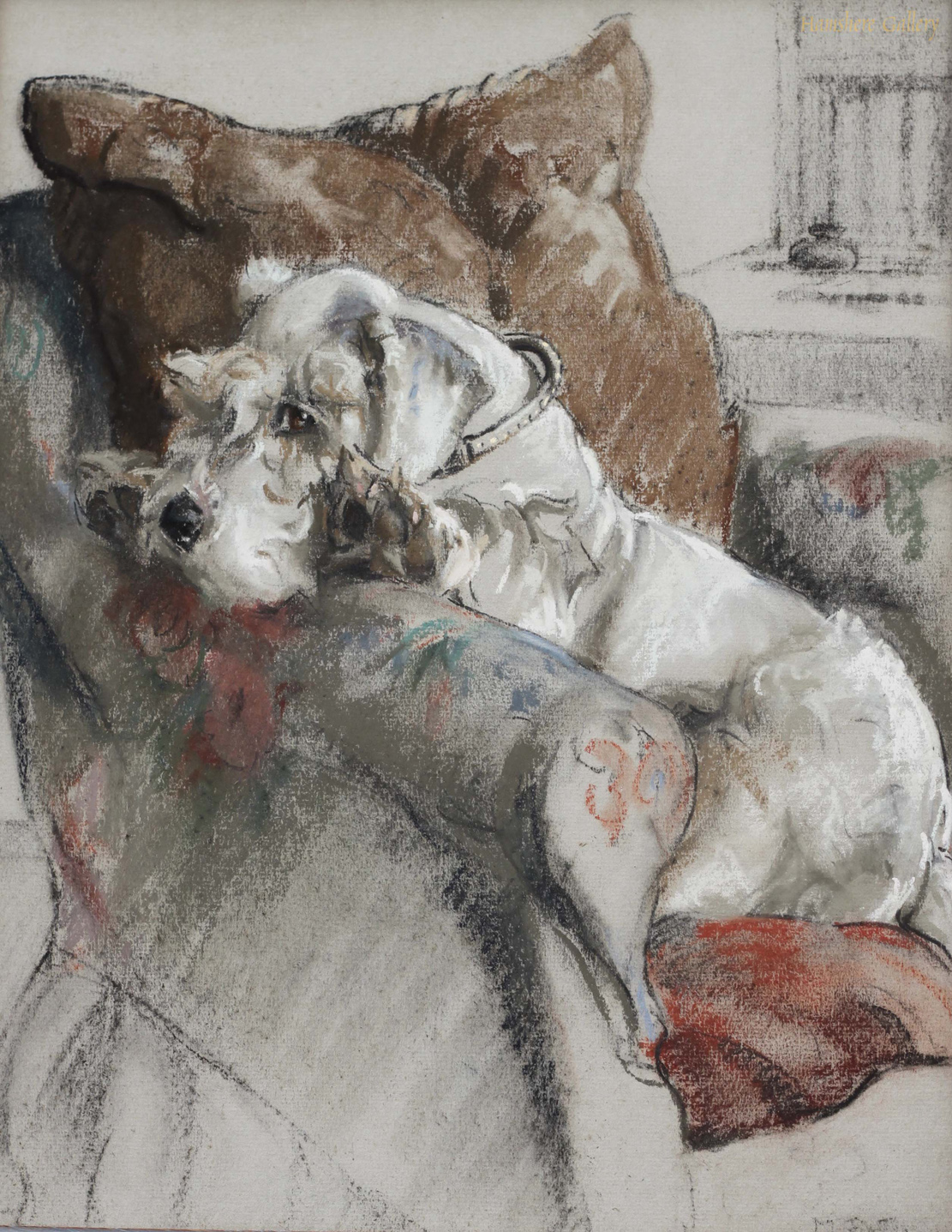 Click to see full size: Ermintrude a Sealyham pastel by Miss Marjorie I Porter