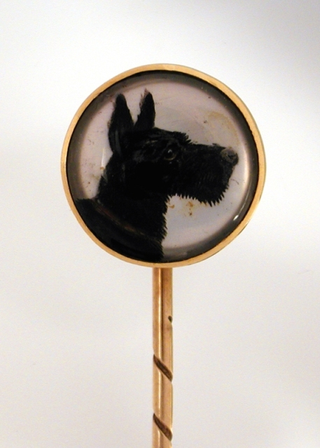 Click to see full size: Reverse intaglio crystal stick pins of a Scottish Terrier
