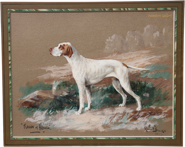 Click for larger image: watercolour and gouache of the English Pointer - watercolour and gouache of the English Pointer
