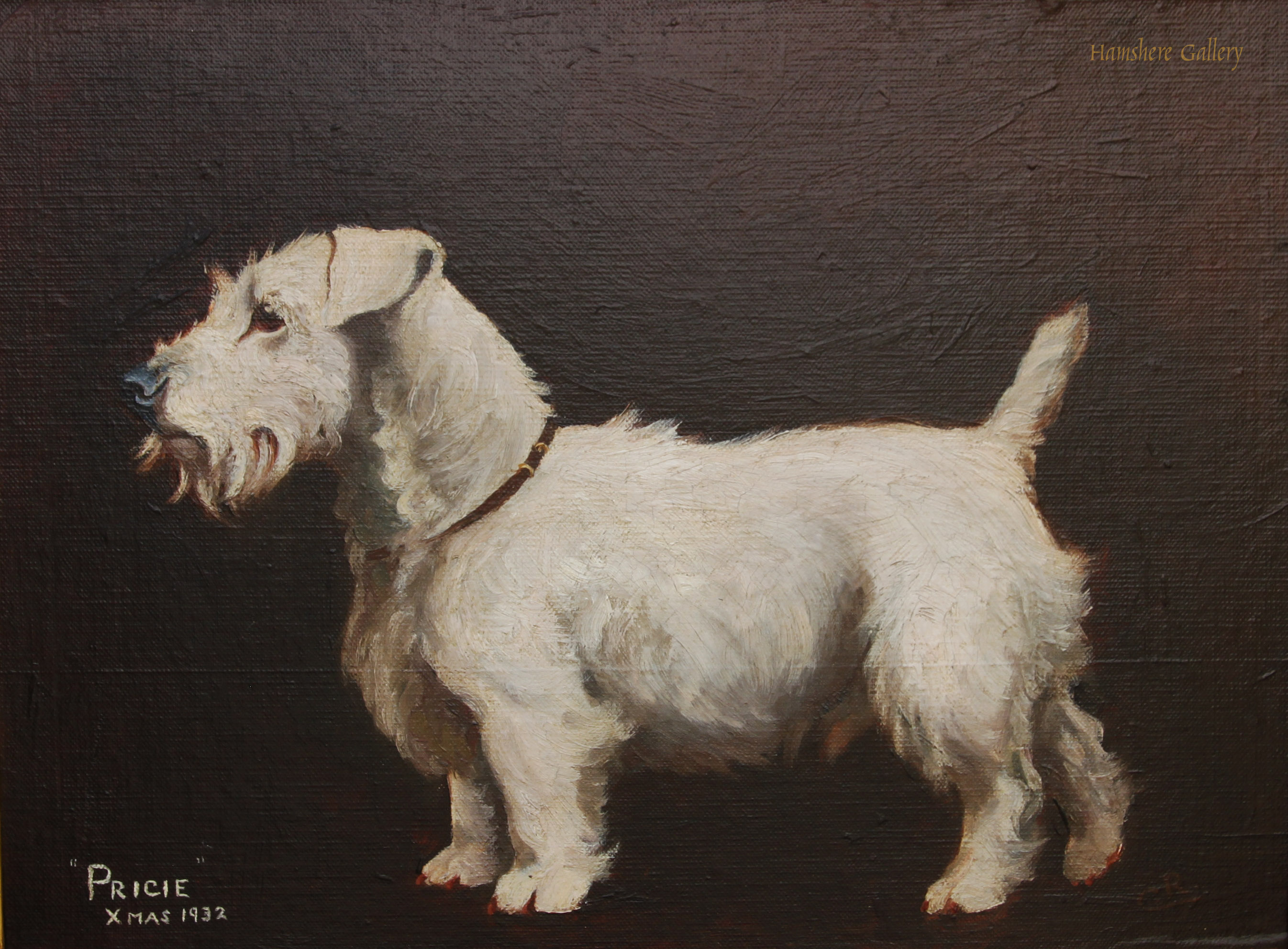 Click to see full size: oil of �Pricie� a Sealyham Terrier signed �C.R�