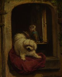 Click to see full size: Maltese oil on panel of by Henriette Ronner-Knip