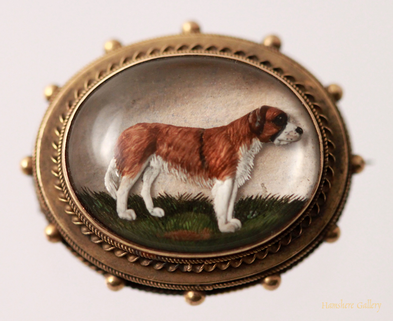 Click to see full size: Reverse intaglio crystal gold set St Bernard