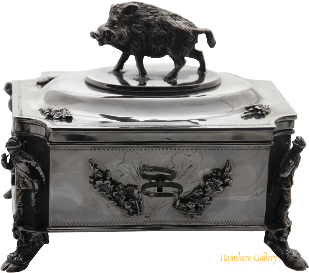 Click to see full size: A Russian silver boar hunting box SOLD- A Russian silver boar hunting box SOLD