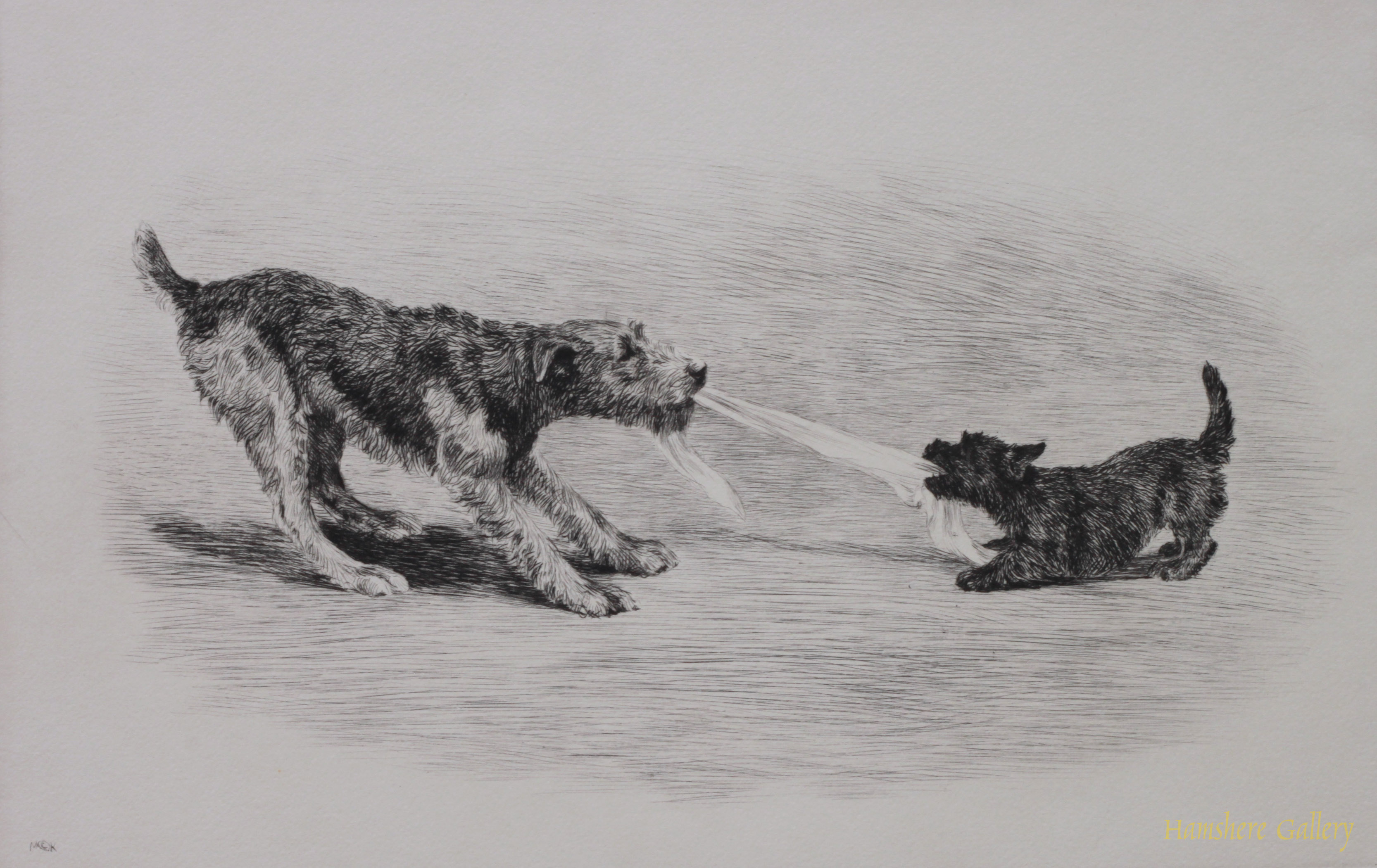 Click to see full size: Airedale and Scottish Terrier dry-point etching Hold Everything by Marguerite Kirmse
