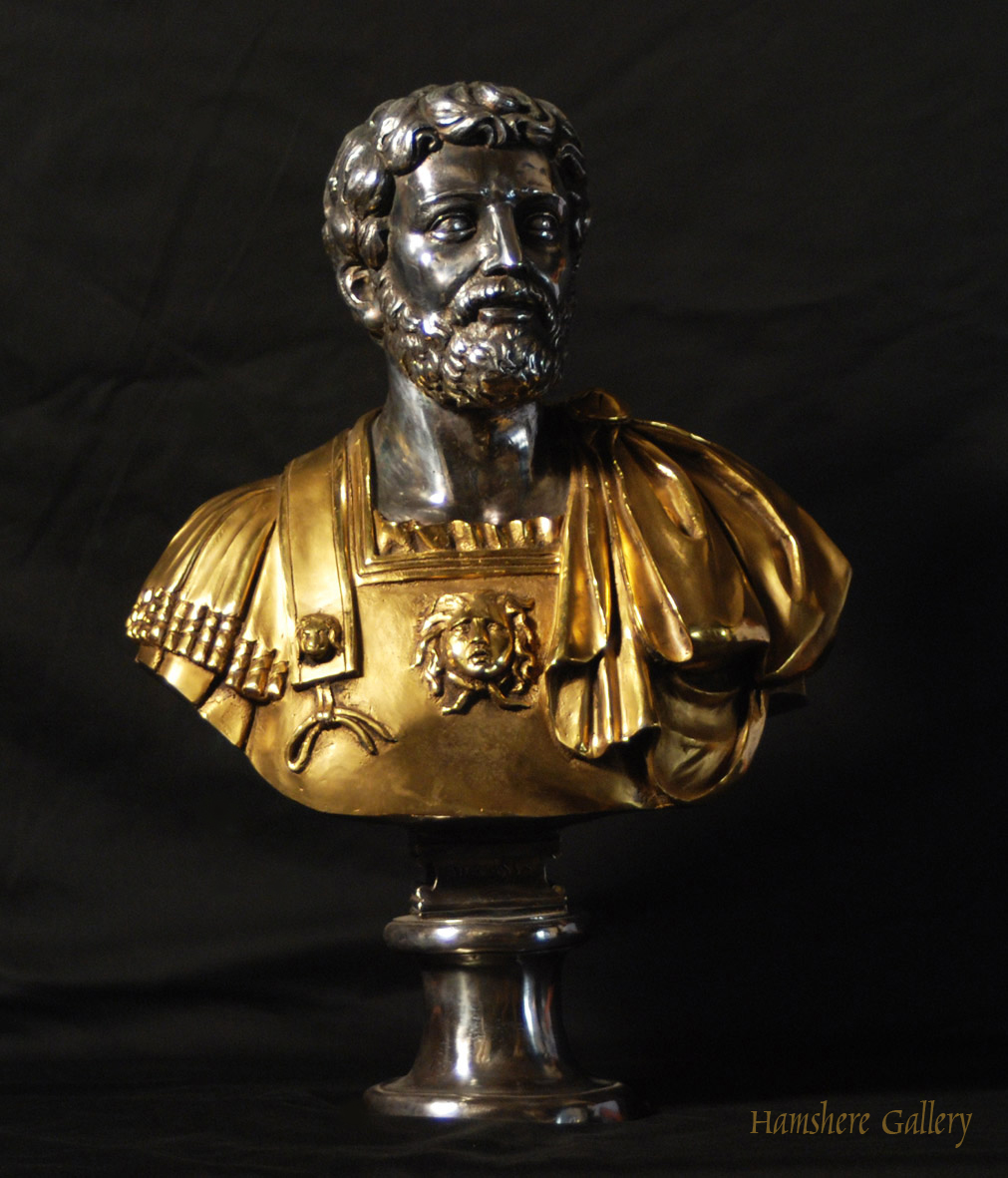 Click to see full size: Solid bronze Roman head studies busts with silver and gilt decoration Adriano - Solid bronze Roman head studies busts with silver and gilt decoration Adriano