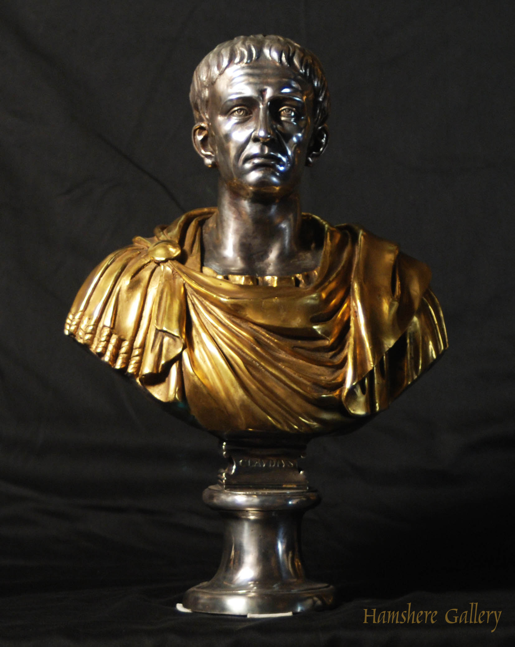 Click for larger image: Solid bronze Roman head studies busts with silver and gilt decoration Claudio - Solid bronze Roman head studies busts with silver and gilt decoration Claudio
