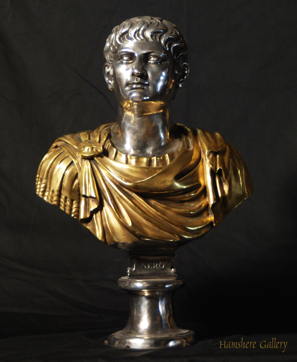 Click for larger image: Solid bronze Roman head studies busts with silver and gilt decoration Nerone - Solid bronze Roman head studies busts with silver and gilt decoration Nerone