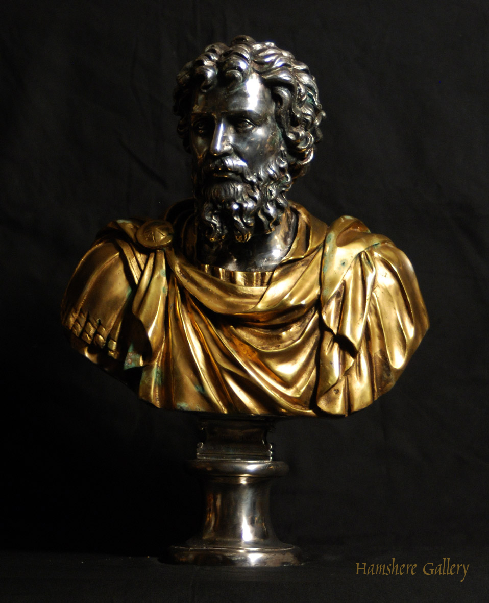 Click for larger image: Solid bronze Roman head studies busts with silver and gilt decoration Settimio Severo - Solid bronze Roman head studies busts with silver and gilt decoration Settimio Severo