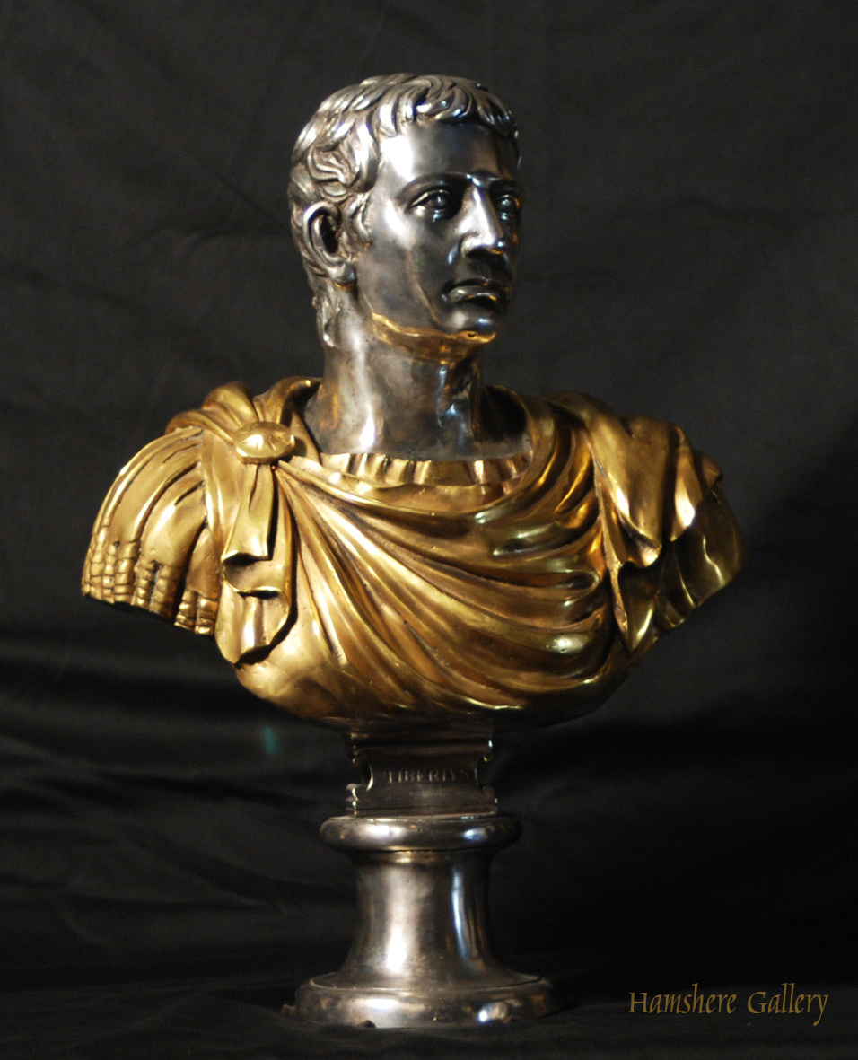Click for larger image: Solid bronze Roman head studies busts with silver and gilt decoration Tiberio 1 - Solid bronze Roman head studies busts with silver and gilt decoration Tiberio 1