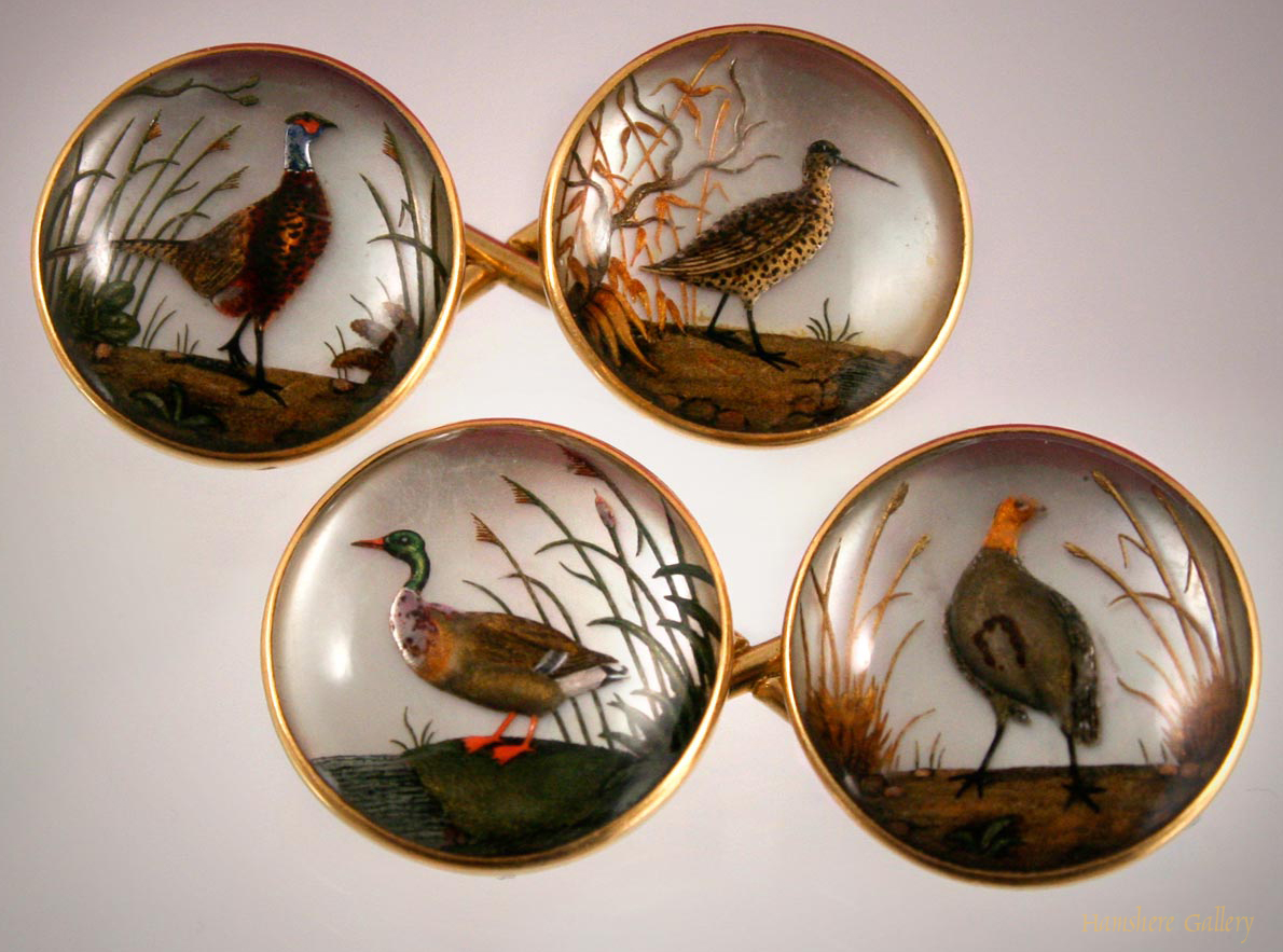 Click to see full size: Reverse intaglio crystal game bird cufflinks