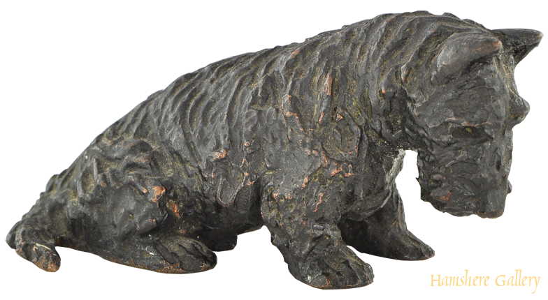 Click to see full size: Gorham foundry seated Scottish Terrier bronze after Marguerite Kirmse