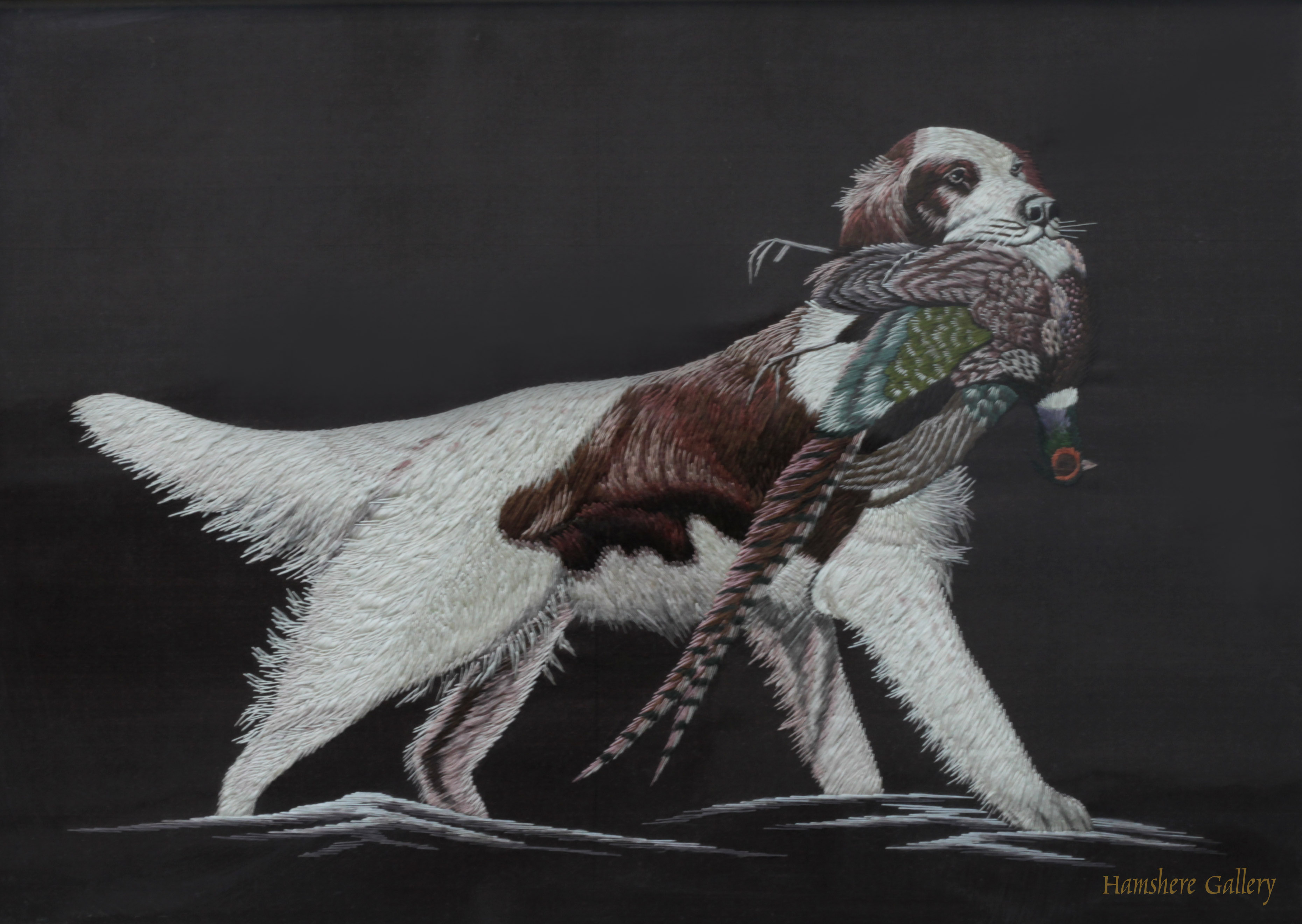 Click to see full size: A Japanese Meiji period silk embroidery of a Setter retrieving a pheasant after Alexander Pope