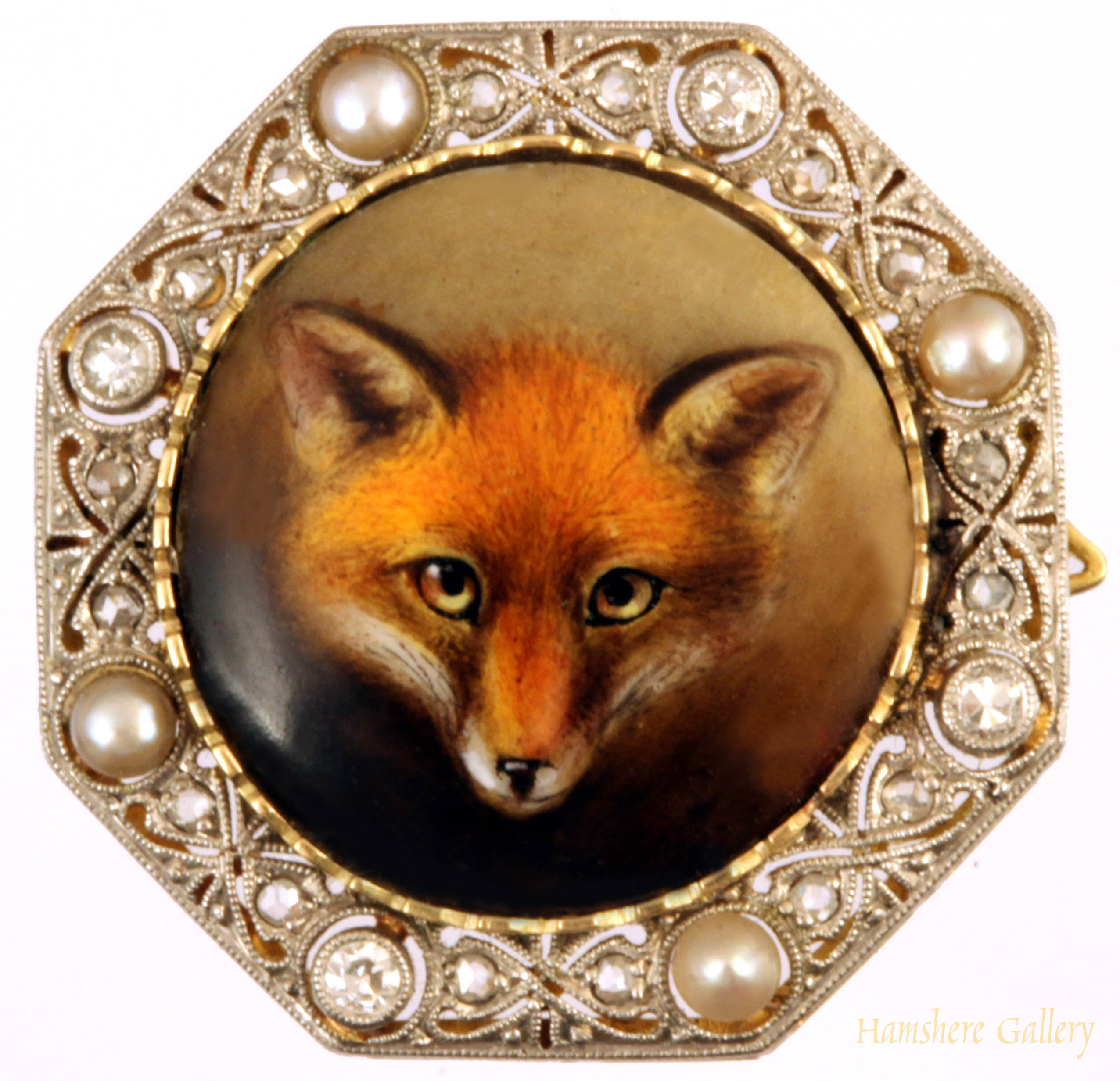 Click to see full size: Diamond Fox Brooch William Essex