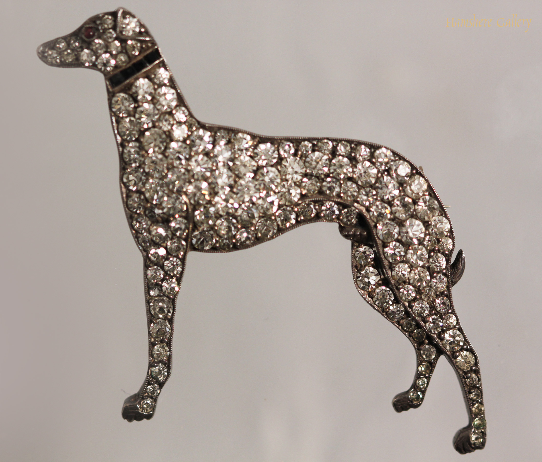 Click to see full size: Edwardian silver set paste Greyhound