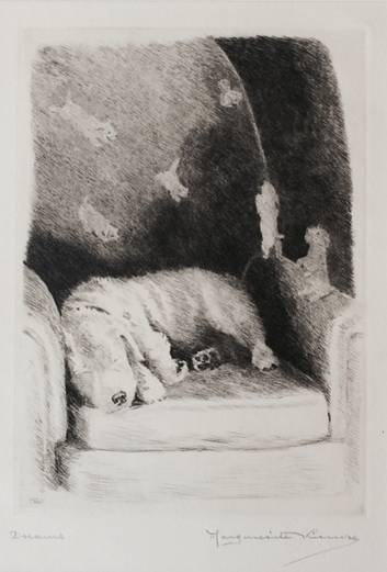 Click to see full size: Sealyham dry-point etching �Dreams� by Marguerite Kirmse