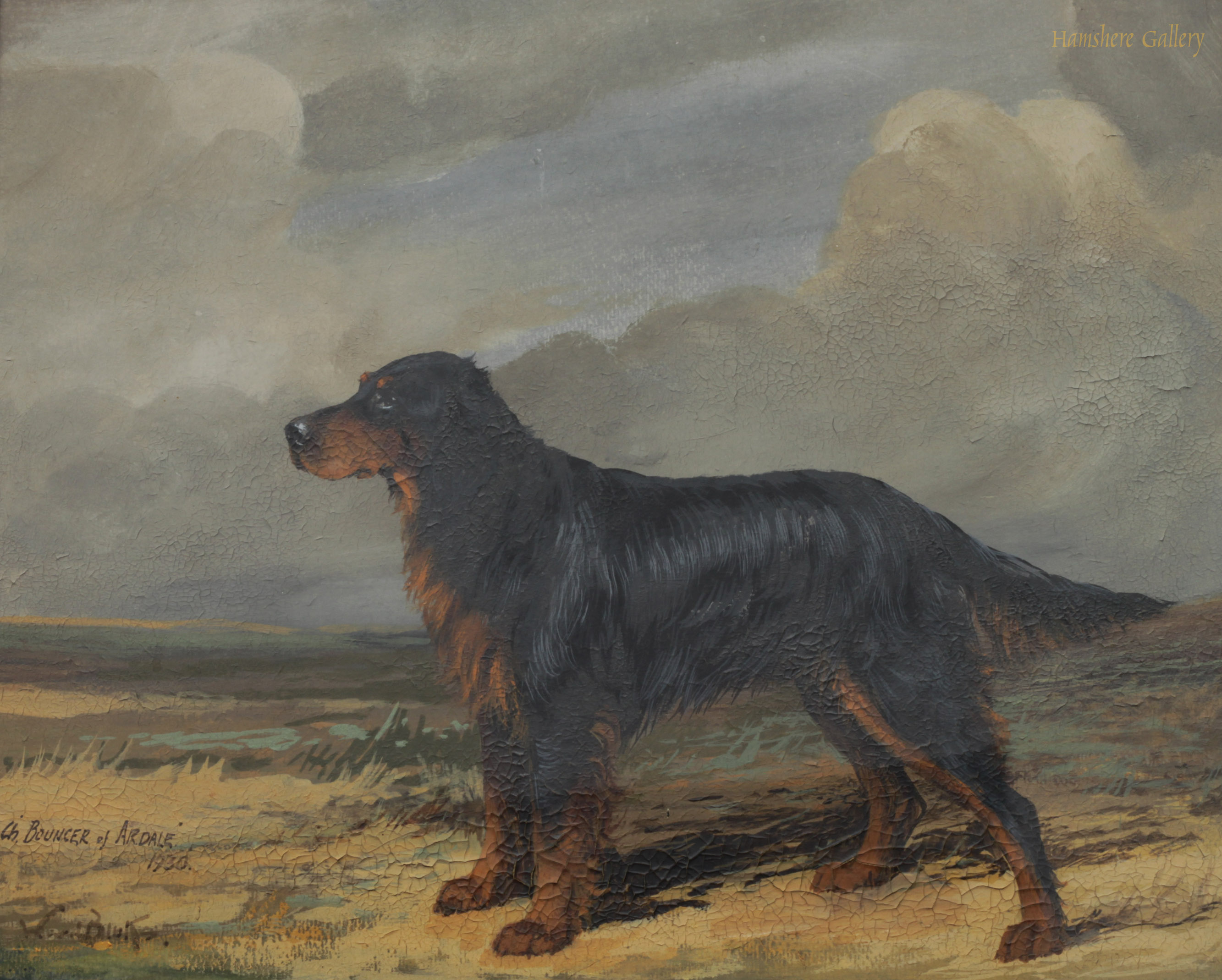 Click to see full size: Oil of the Gordon Setter Champion Bouncer of Ardale by Reuben Ward Binks- Oil of the Gordon Setter Champion Bouncer of Ardale by Reuben Ward Binks