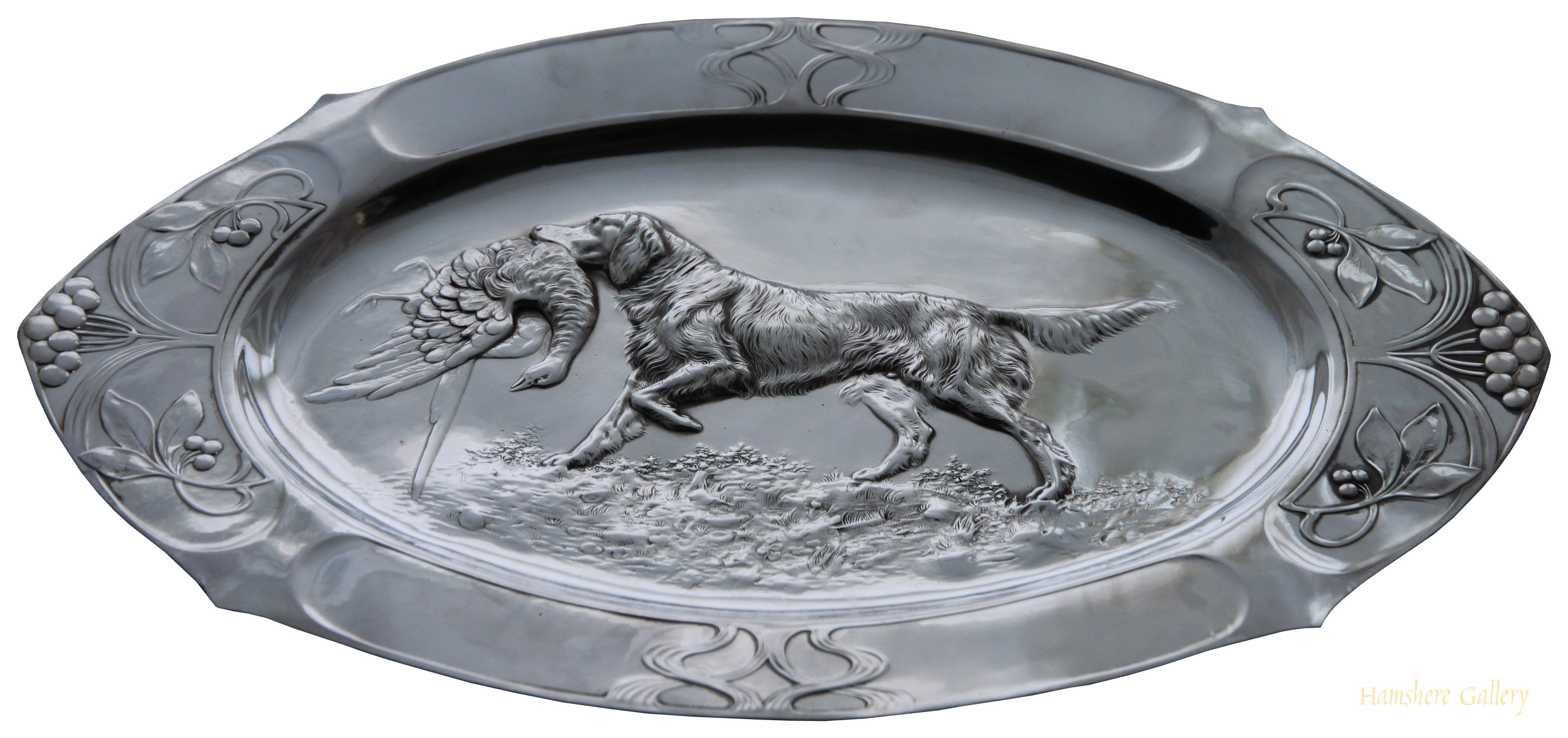 Click to see full size: silver plated wall plaque of Setter retrieving pheasant