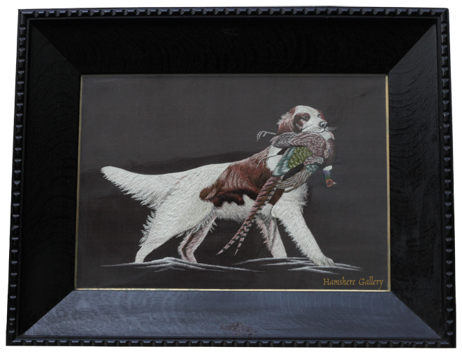 Click for larger image: A Japanese Meiji period silk / embroidery of a Setter retrieving a pheasant after Alexander Pope (American, 1848-1924) - A Japanese Meiji period silk / embroidery of a Setter retrieving a pheasant after Alexander Pope (American, 1848-1924)