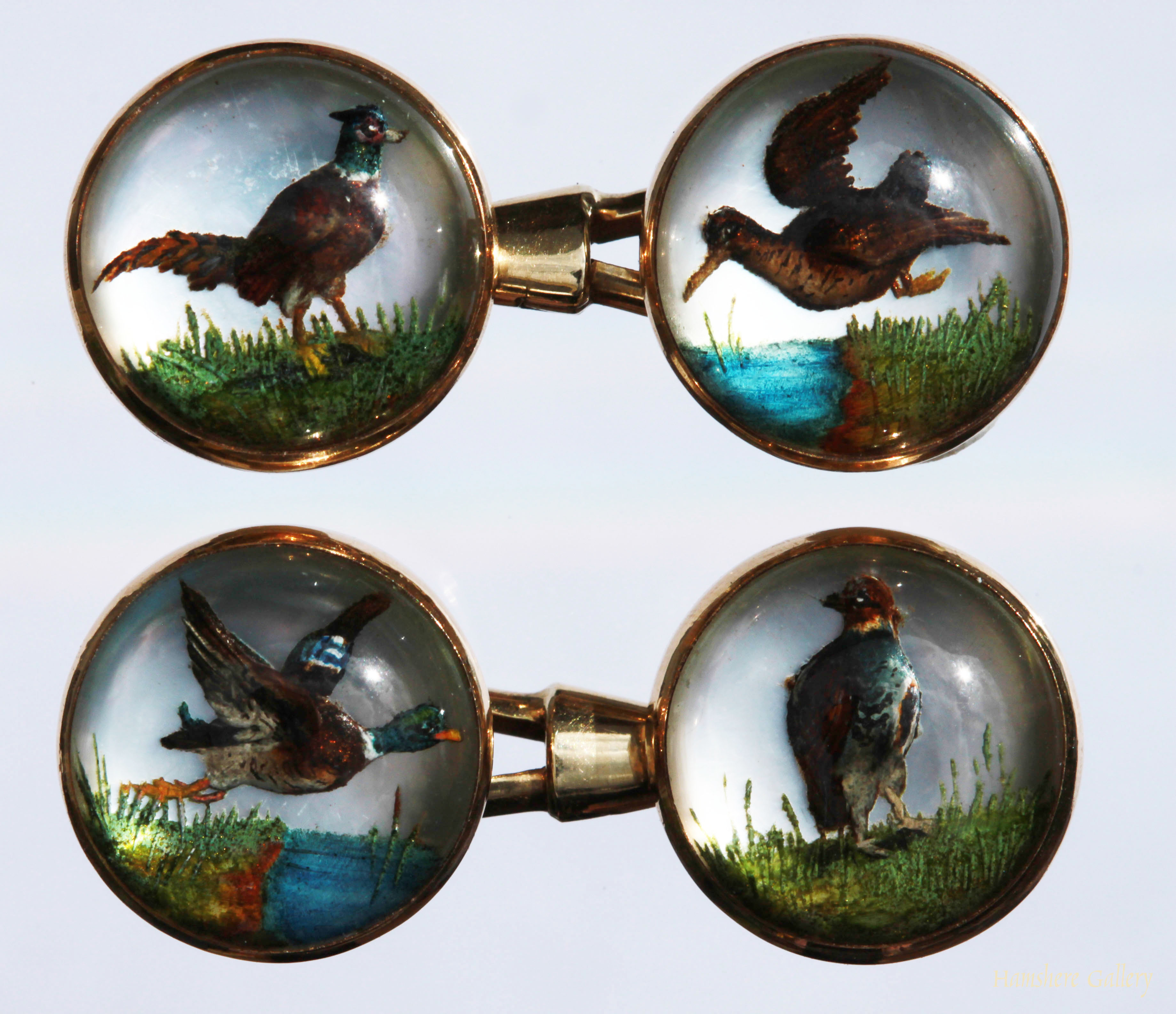 Click to see full size: Reverse intaglio crystal double sided game bird cufflinks- Reverse intaglio crystal double sided game bird cufflinks