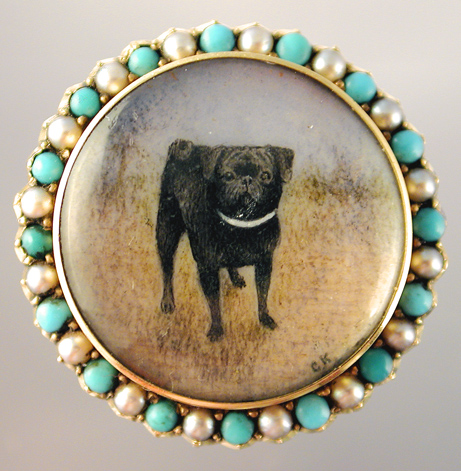 Click to see full size: Ivory miniature of a black Pug by Fannie Moody SWA (1861 - 1947)