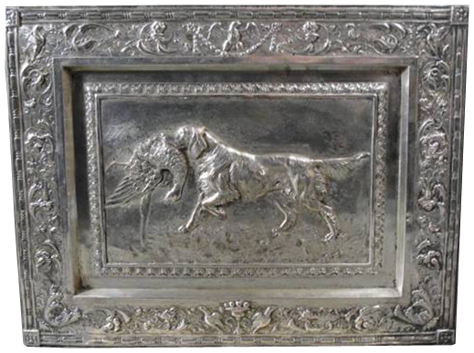 Click to see full size: Rare early English silver plated Setter plaque