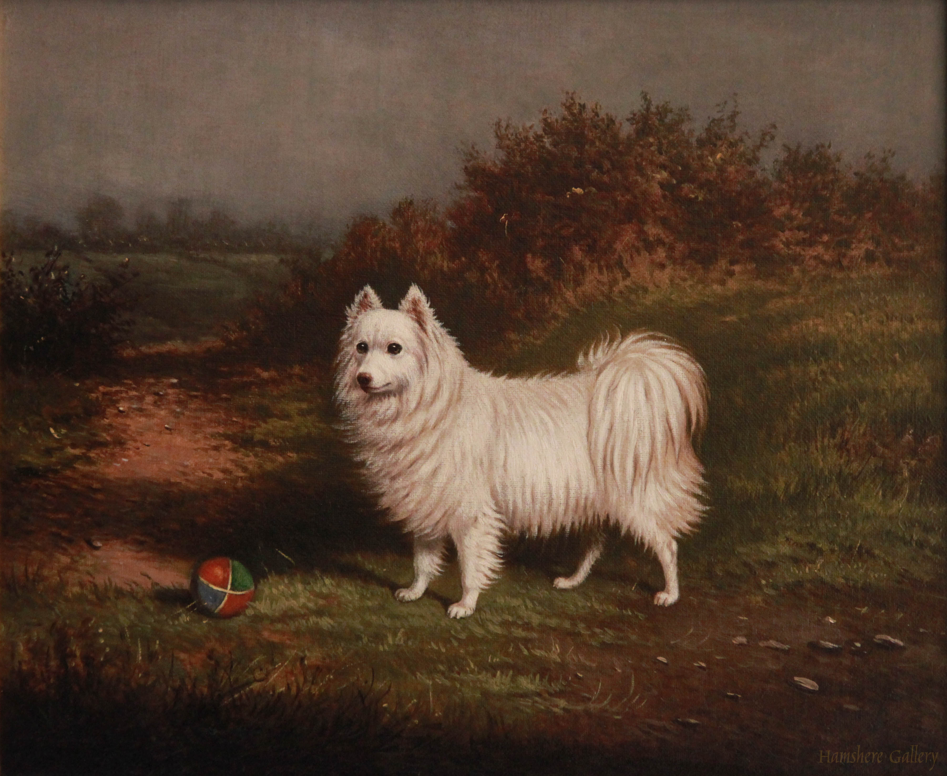 Click to see full size: Oil on canvas of a Samoyed by William Eddowes Turner