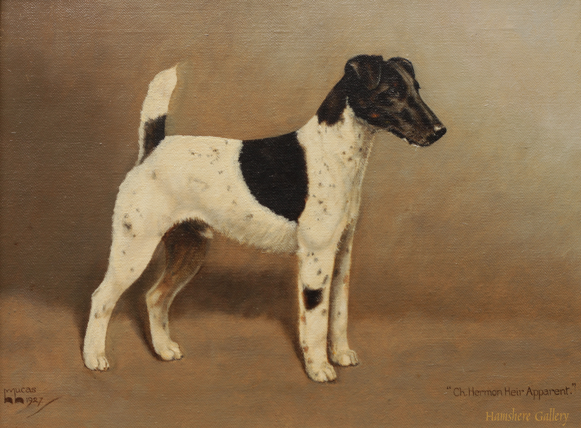 Click to see full size: Oil of the Smooth-haired Fox Terrier Ch Herman by William Lucas Lucas