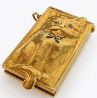 Click to see full size: Gold and gem set cat brooch by Edmond-Henri Becker