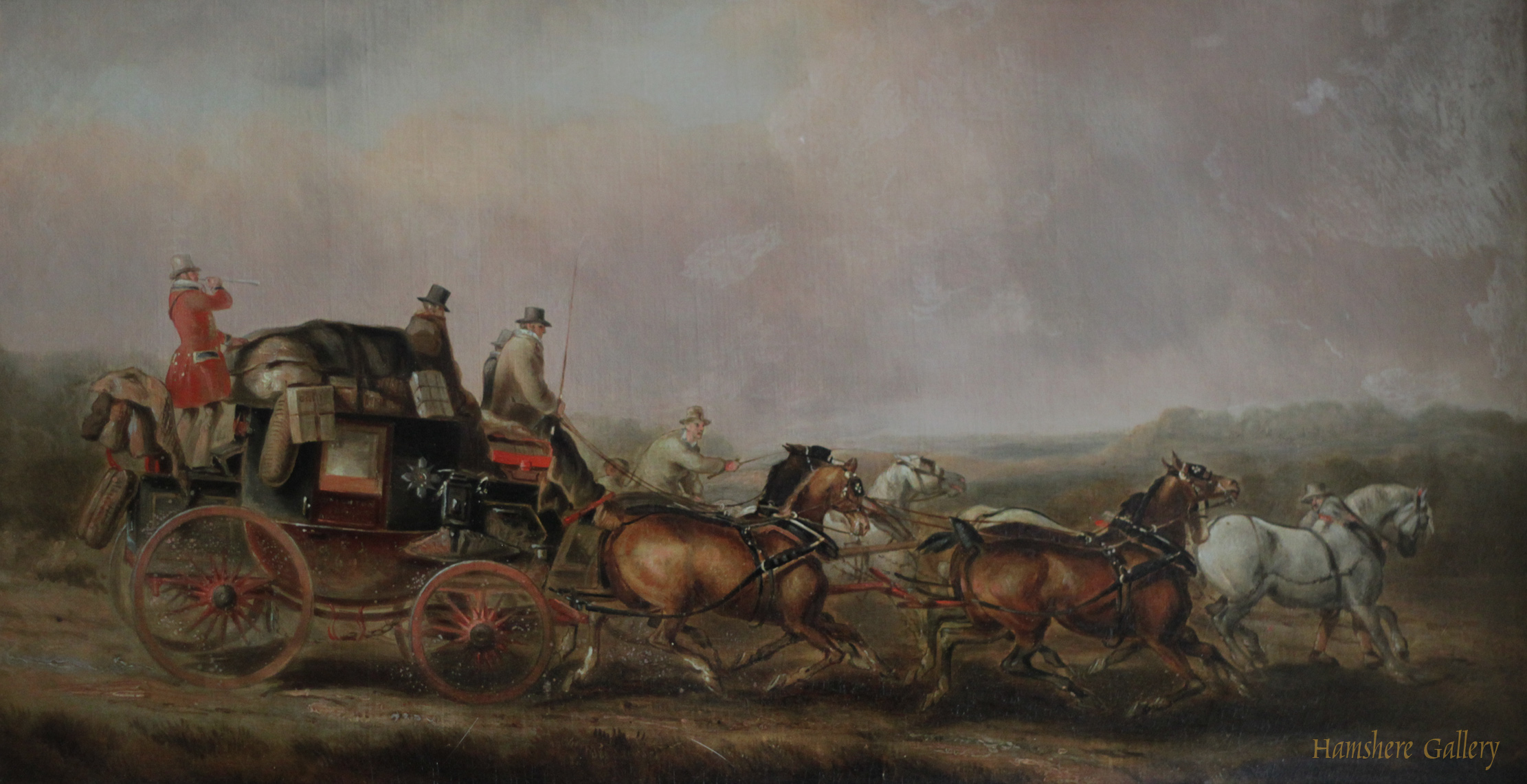 Click to see full size: Mid 19th century English coaching oil by Charles Cooper Henderson