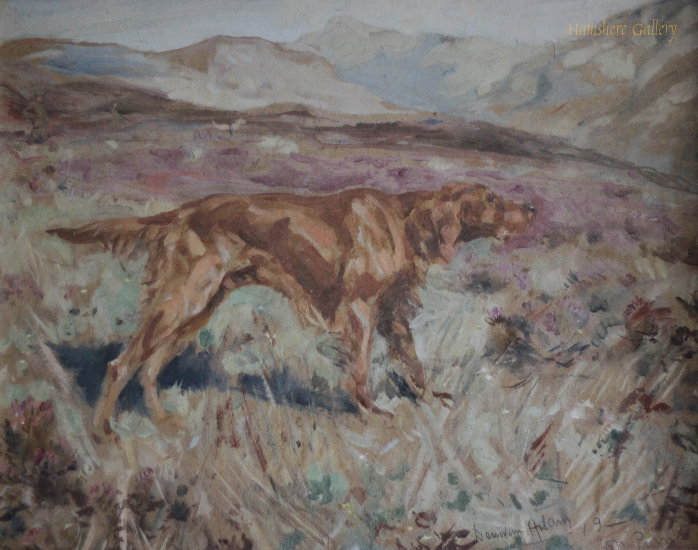 Click to see full size: A watercolour with gouache of an Irish Setter by Joseph Denovan Adam, RSA RSW (English, 1842-1896)