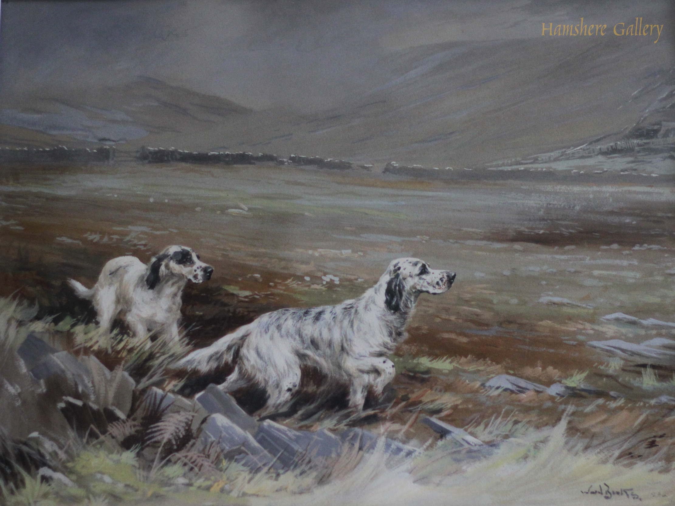 Click to see full size: Watercolour of two English Setter dogs at work by Reuben Ward Binks