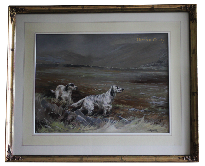 Click for larger image: Watercolour of two English Setter dogs at work by Reuben Ward Binks - Watercolour of two English Setter dogs at work by Reuben Ward Binks