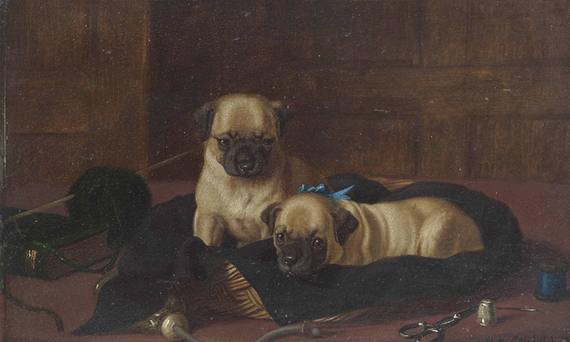 Click to see full size: Oil on panel of Pug puppies by Horatio Henry Couldery
