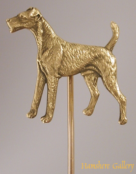Click to see full size: Airedale Terrier/ Welsh Terrier/ Lakeland Terrier/ Wire Fox Terrier gold stick pin