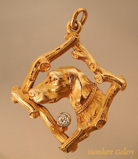 Click to see full size: Belle �poque French gold Pointer pendant