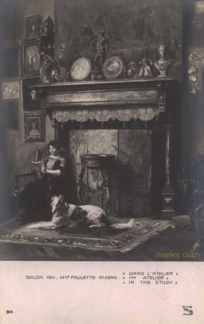 Click to see full size: Paulette Rixens in her studio, 1911- Paulette Rixens in her studio, 1911