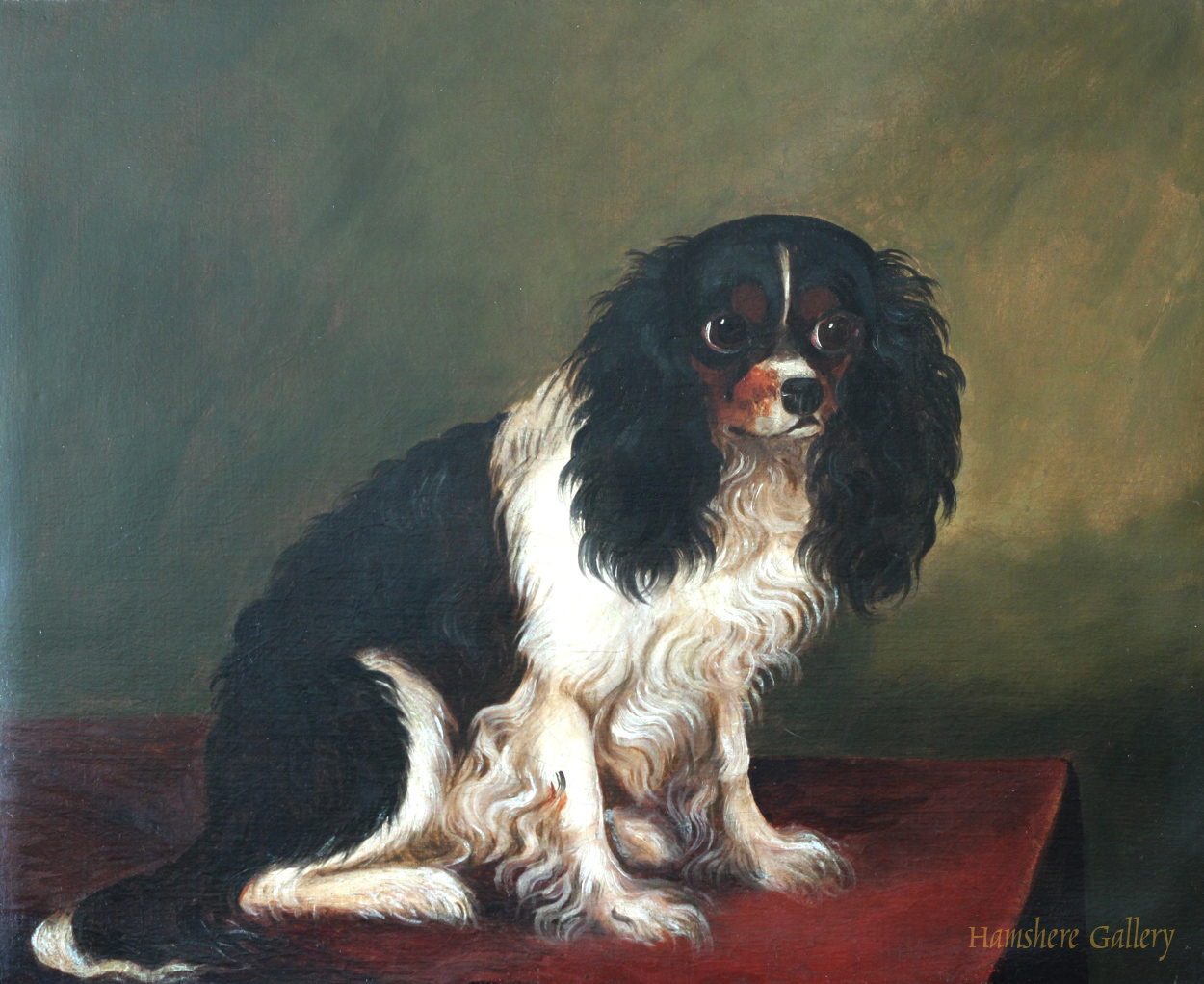 Click to see full size: A English provincial school oil on canvas of King Charles Cavalier