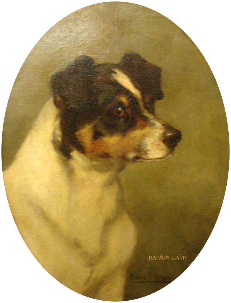 Click to see full size: Smooth Fox Terrier / Jack Russell oil on canvas by Lionel Lea Townley Birch- Smooth Fox Terrier / Jack Russell oil on canvas by Lionel Lea Townley Birch