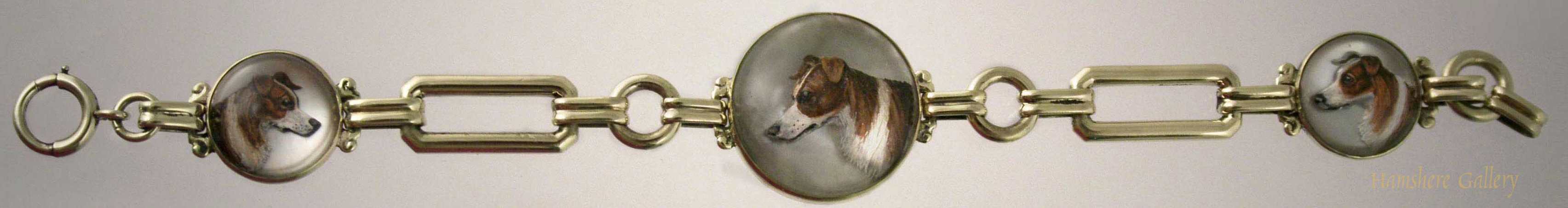 Click to see full size: Gold Reverse intaglio crystal Collie Bracelet