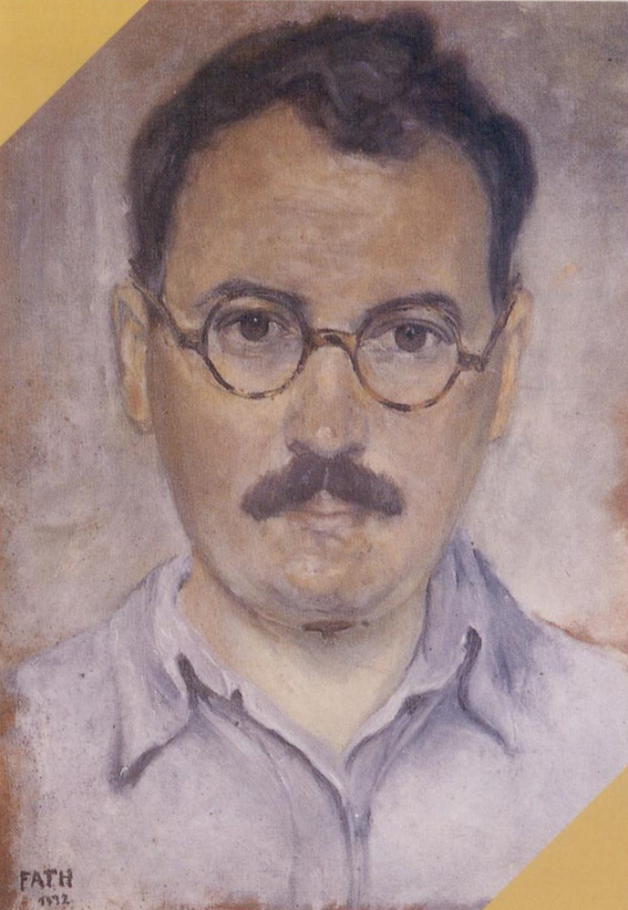 Click to see full size: Richard Fath (French, 1900 - 1952), 1932 self portrait in oil- Richard Fath (French, 1900 - 1952), 1932 self portrait in oil