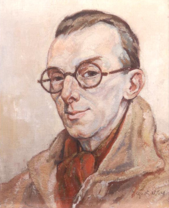 Click to see full size: Jacques Nam (French, 1881-1974), self portrait 1942 in oil- Jacques Nam (French, 1881-1974), self portrait 1942 in oil