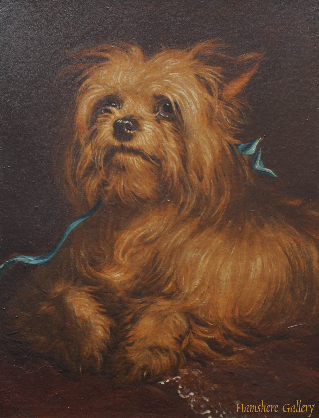 Click to see full size: Oil of an early Yorkshire Terrier type attributed to Thomas William Earl