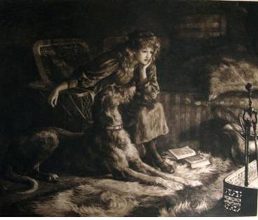 Click to see full size: Silent Sympathy Scottish Deerhound etching by Herbert Thomas Dicksee