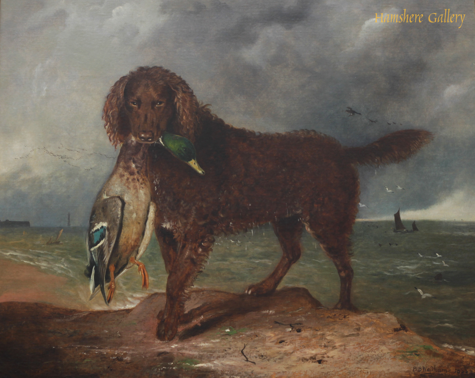 Click to see full size: Irish Water Spaniel oil on canvas by provincial school artist Benjamin Brassett Wadham- Irish Water Spaniel oil on canvas by provincial school artist Benjamin Brassett Wadham