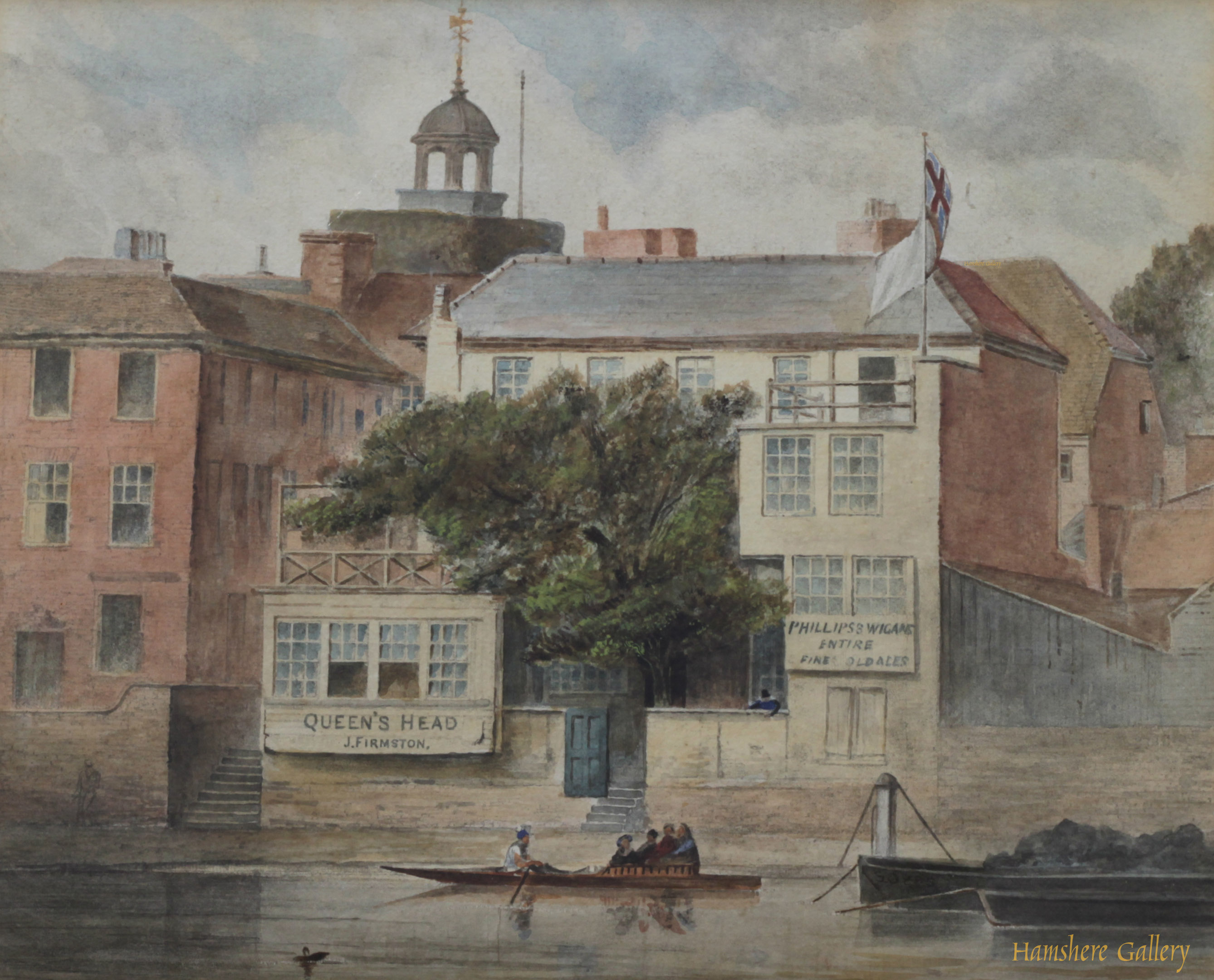 Click to see full size: A watercolour of the Queen�s Head, Mortlake by