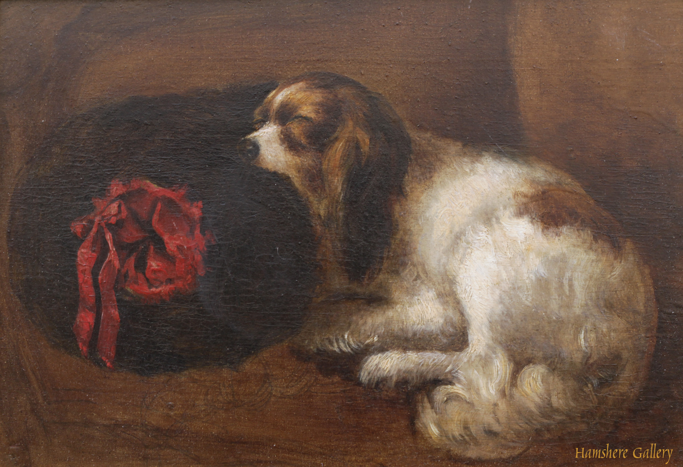 Click to see full size: A 19th century oil of a King Charles Cavalier asleep