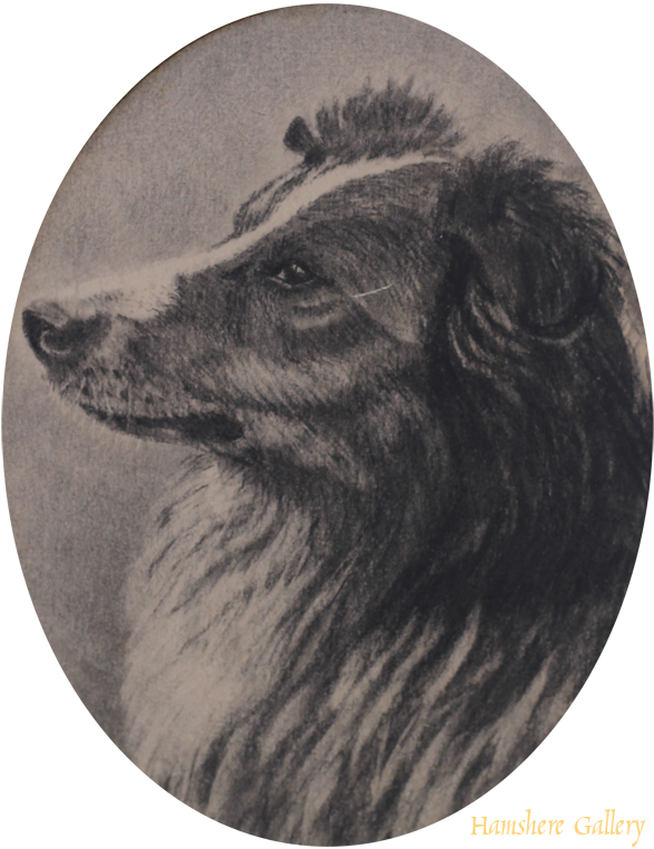 Click to see full size: A Victorian graphite miniature of a Rough Collie