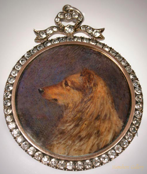 Click to see full size: Miniature on Ivory of a Collie by Edith Waltons