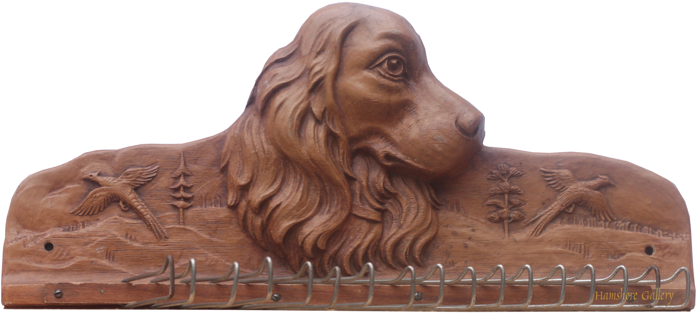 Click to see full size: A Cocker Spaniel tie rack by the Syracuse Ornamental Company (Syroco Wood)